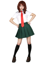 My Hero Academia Summer School Uniform Ochako Tsuyu Cosplay Costume for Women with Tie