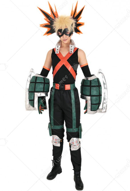 My Hero Academia Katsuki Bakugou Kacchan Cosplay Costume Fullset Hero Costume Battle Suit With Mask And Gauntlets