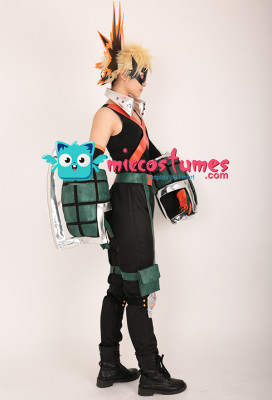 My Hero Academia Katsuki Bakugo Kacchan Cosplay Costume Fullset Hero Suit with Mask and Gauntlets
