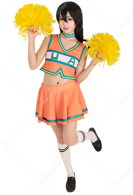 My Hero Academia Ochako Tsuyu Cheer Uniform Cheerleaders Cosplay Costume Girls Dress with Cheerleading Poms