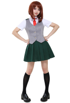 My Hero Academia Ochako Tsuyu Nejire Hado Female Summer School Uniform Cosplay Costume with Vest and Tie