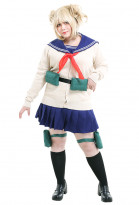 Plus Size My Hero Academia League of Villains Himiko Toga JK School Uniform Curvy Cosplay Costume withThigh Bag and Neck Accessory