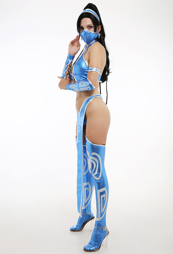 Mortal Kombat 9 MK9 Cosplay Kostüm Kitana Sexy Blaue Anzug Halfter Criss Kreuz Seil Top Geteilte Gabel Hosen mit Stirnband Socken Faltfächer Cosplay Kostüm