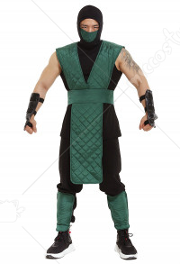 Mortal Kombat Reptile Cosplay Costume Green Suit with Face Covering