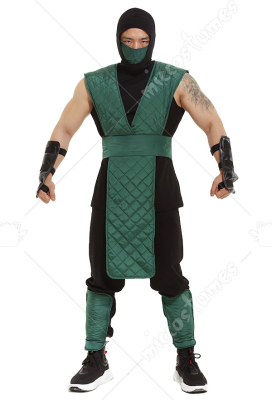 Mortal Kombat Reptile Cosplay Costume Green Suit with Mask