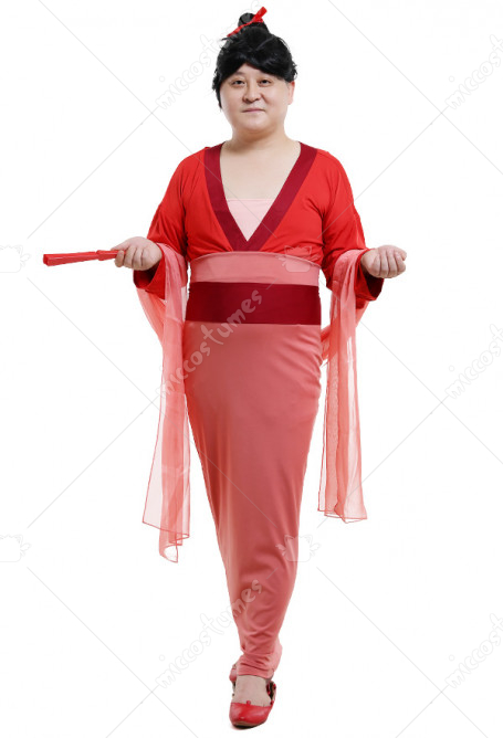 Adult Men's Chinese Fun Mulan Style Halloween Costume For Party Red Dress