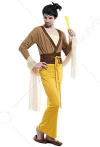 Adult Men's Chinese Fun Mulan Style Halloween Costume For Party Yellow Dress