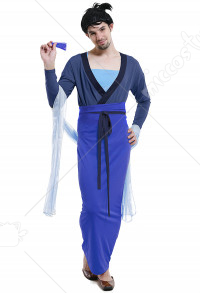 Adult Men's Chinese Fun Mulan Style Halloween Costume For Party Blue Dress