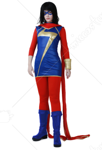 Superhero Cosplay Costume with Scarf and Eye Mask Inspired by Ms. Marvel Kamala Make to Order