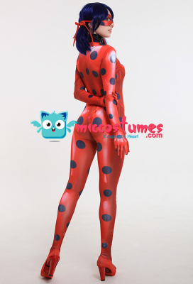 3D Printed Ladybug Adult Cosplay Costume Bodysuit Jumpsuit with Mask