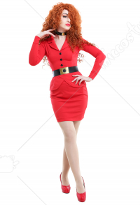 Miss Bellum Long Sleeved Red Suit Suit-Like Low Chest Dress Wrap Skirt Outfit Cosplay Costume with Black Belt and Necklace