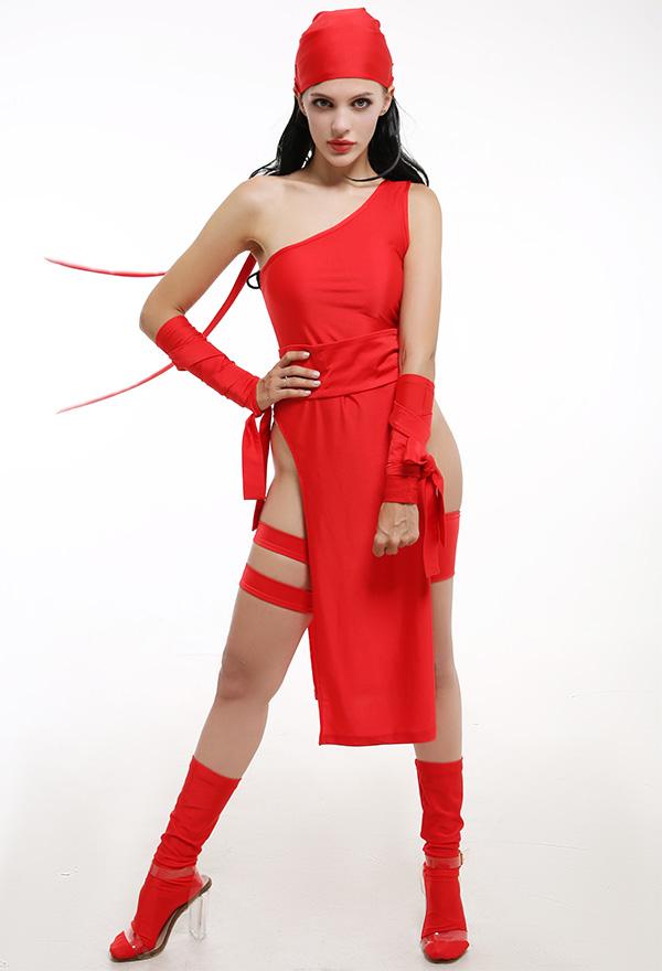 Damen Weiblicher Ninja Cosplay Kostüm Sexy Geteilte Gabel Kleid Rote Japanischer Stil Einschultriges Kleid mit Kopfbedeckung Socken Armschutz Cosplay Kostüm
