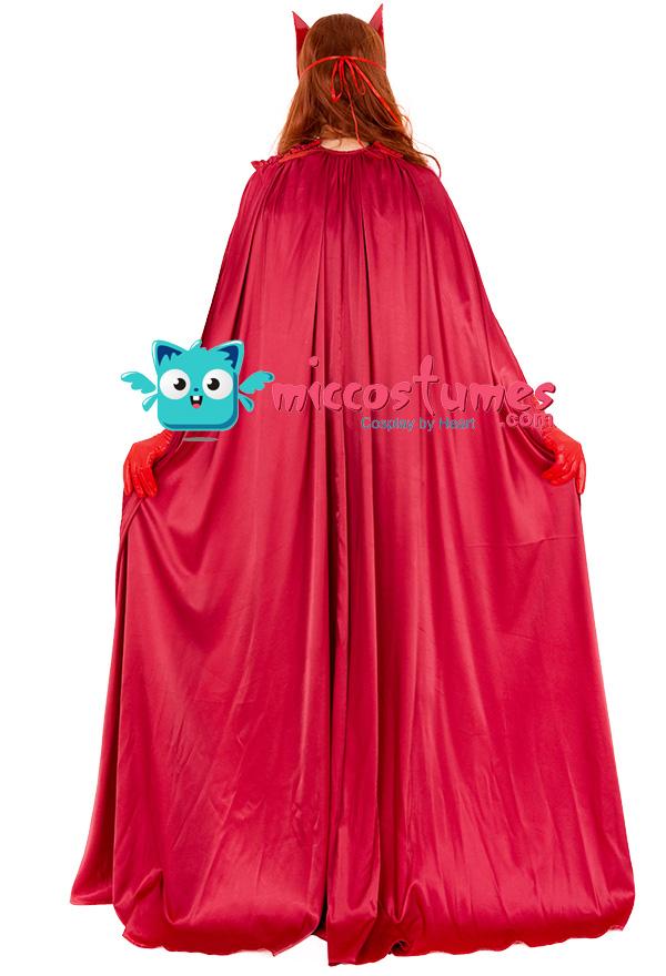 Super Heldin Cosplay Kostüm Bodysuit Inspiriert von Scarlet Witch mit Umhang
