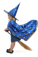 Child Little Magician Wizard Witch Costume Cloak with Hat and Broomstick