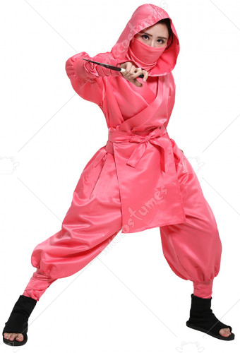 Japanese Ninja Bushido Pink Cosplay Costume for Female with Hood