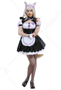 Nekopara Vol. 2 Minaduki Family Coconut Cats Girl Japanese Style Chest Open Maid Dress Cosplay Costume Outfits Set with Ear Clips and Cats Tail