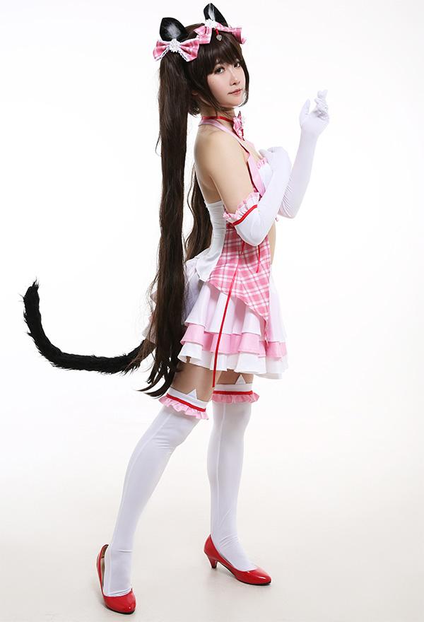Nekopara Chocola Cosplay Kostüm Cat Girl Kazte Ohren Pink Idol Halfter Rückenfrei Criss Kreuz Seil Kleid Regenschirmrock mit Handschuhe Kniestrümpfe Cosplay Kostüm