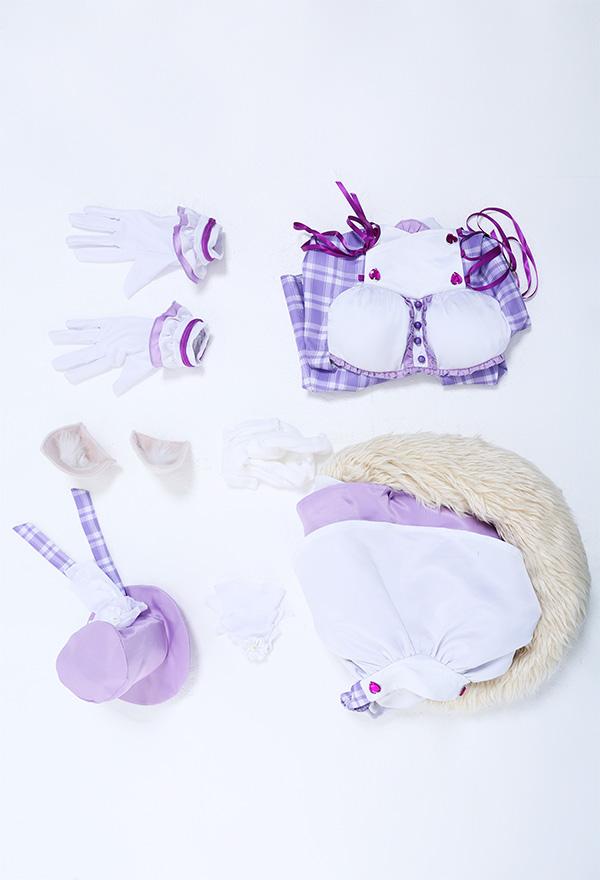 Nekopara Idol Coconuts Cosplay Kostüm Lila Rückenfrei Criss Kreuz Seil Kleid mit Handschuhe Ohren Strumpfhose Hut Cosplay Kostüm