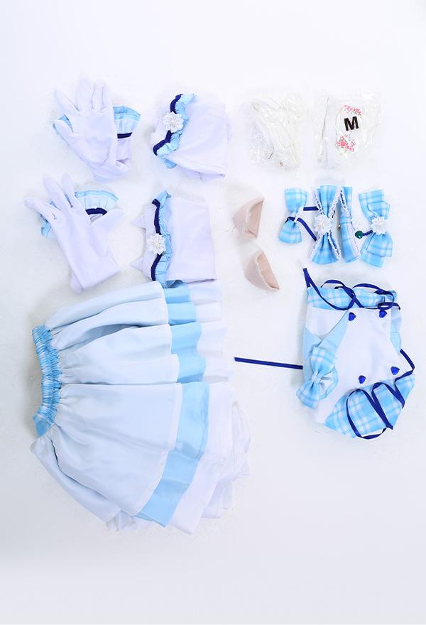 Nekopara Vanilla Cat Girl Cosplay Kostüm Idol Kleid Regenschirmrock Katze Ohren Halfter Rückenfrei Blaues Criss Kreuz Seil Top Kniestrümpfe mit Lang Handschuhe Cosplay Kostüm