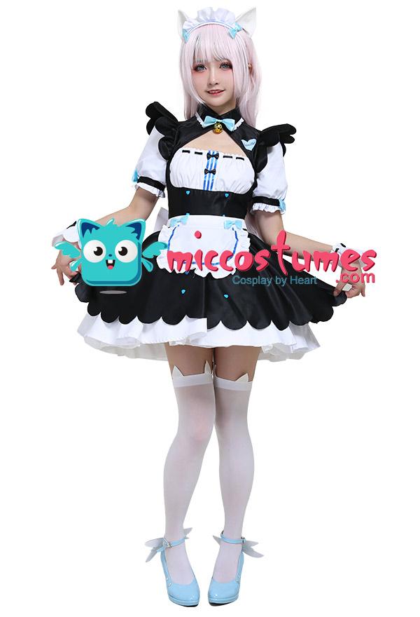 Nekopara Vanilla Maiden Cosplay Kostüm Kleid mit Katze Ohren