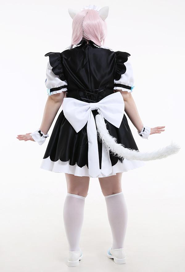 Übergröße Nekopara Vanilla Maiden Curvy Cosplay Kostüm mit Katze Ohren