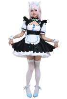 Nekopara Vanilla Cosplay Costume Maid Dress with Cat Ears