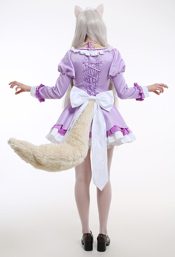 Nekopara Vol. 4 Coconuts Cosplay Kostüme Japanischer Stil Aushöhlen Dienstmädchen-Outfit Rüschen Rundhals Kleid mit Schürze Cosplay Kostüme