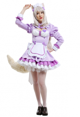 Nekopara Vol. 4 Coconut Cats Girl Cosplay Costume Chest Open Maid Dress Ruffled Round Collar Long Sleeve Full Set Cosplay Costume Outfits with Heart-Shape Badge and Petticoat