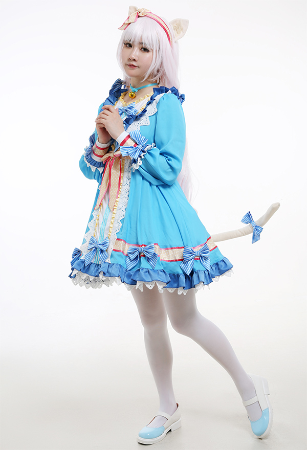 Nekopara Vol. 4 Neko to Patisserie no Noel Cosplay Kostüm Vanilla Cat Girl Blaues Lange Ärme Kleid mit Katze Ohren Schwanz Hohe Socken Choker Hoopskirt Cosplay Kostüm