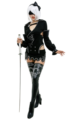 NieR Re in carnation 2B YoRHa Model B No.2 Backless Dress Cosplay Costume Outfit with Ribbon Stockings