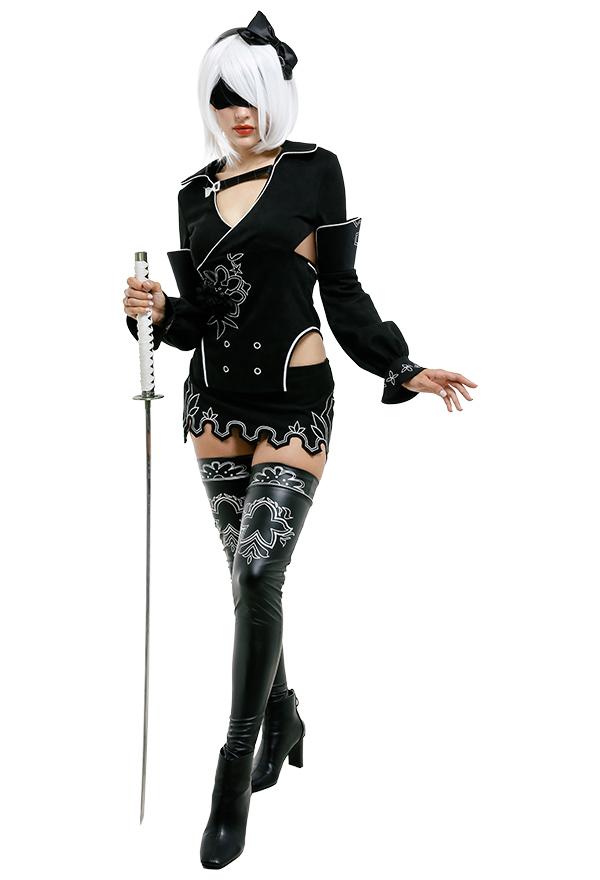 NieR Reincarnation Cosplay Kostüm 2B YorHa Modell B Nr. 2 YoRHa Sexy Lange Ärme Schwarz Rückenfrei Kleid mit Stirband Hohe Socken Cosplay Kostüm