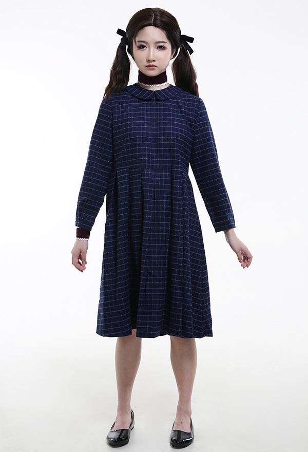 Orphan Das Waisenkind Mädchen Halloween Blau Kariertes Cosplay Kostüm Kleid