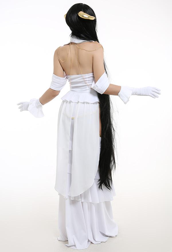 Overlord Albedo Cosplay Kostüm Sexy Aushöhlen Rüschen Rock Schulterfreies Top mit Hörner Handschuhe Halsdekoration Cosplay Kostüm