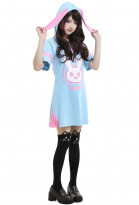 Overwatch D.Va Hana Song Bunny Cosplay Costume Pajama Hoodie Dress
