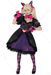 Overwatch D.Va Black Cat Cosplay Costume Dress with Cat Ears