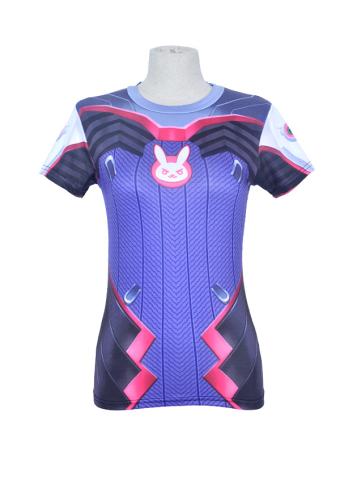 d7a3c108406 Overwatch D.Va Hana Song Cosplay Bodysuit Sports Fitness Printing T-shirt  Costume