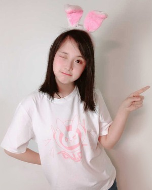Overwatch D.Va Hana Song Casual White T-shirt with Rabbit Printing