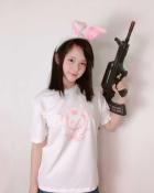 Overwatch D.Va Hana Song Casual White T-shirt with Rabbit Printing