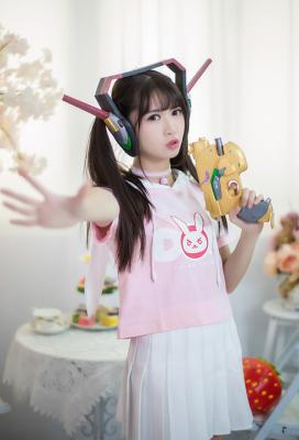 Overwatch D.Va Hana Song Pink Rabbit Short-sleeve Casual Hoodie