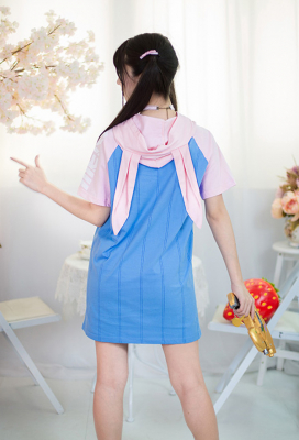 Overwatch D.Va Hana Song Blue and Pink Rabbit Long Hoodie with Short Sleeve