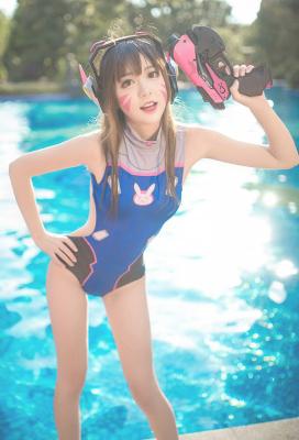 Overwatch D.Va Hana Song One-piece Blue Backless Swimsuit
