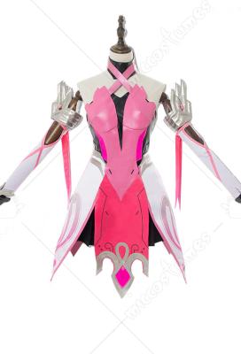 Overwatch Mercy Angela Ziegler Pink Dress Cosplay Costume Including Headdress and Stockings