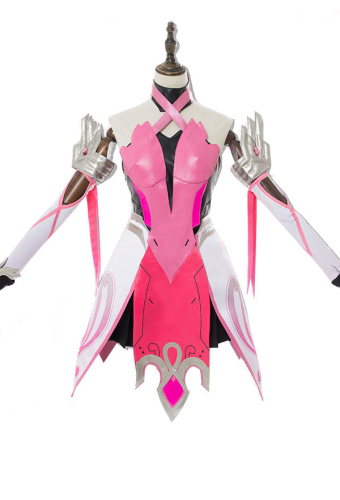 Overwatch Mercy Angela Ziegler Pink Dress Cosplay Costume Including Headdress and Stockings