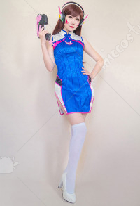 Overwatch D.Va Hana Song Blue Cheongsam Cosplay Costume
