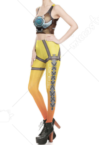 Overwatch Tracer Cosplay 3D Digitaldruck Yoga Tops Weste Strumpfhosen