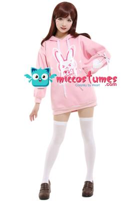 Overwatch D.va Cosplay Pink Bunny Hoodie