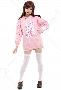 Overwatch D.va Cosplay Sweat À Capuche Lapin Rose