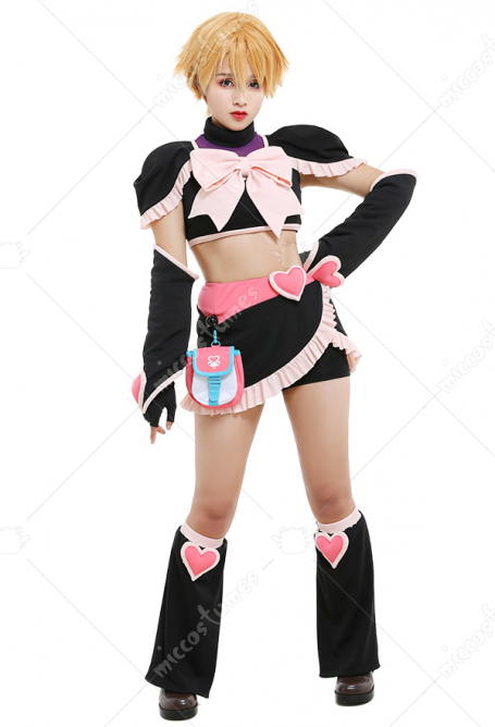 Futari Wa Pretty Cure Max Heart Misumi Nagisa Cure Black Sportswear Splited Set Big Bow Decorated Top and Skirt Outfits Cosplay Costume with Waist Bag Leg Covers Arm Covers Fingerless Gloves Safety Shorts