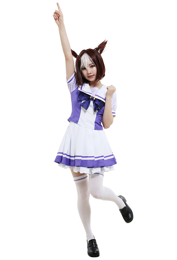 Uma Musume Pretty Derby Cosplay Kostüm Special Week Silence Suzuka Lila Rock Kniestrümpfe mit Bogen Puffärmel Faltenrock Cosplay Kostüm