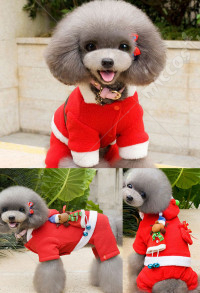 Santa Claus Dog Costume Puppy Christmas Clothes Pet Winter Hoodie Coat Clothes 4 legs for Small Dogs